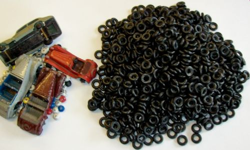 Box of 10,000 Reproduction Dinky Toys 15mm outside diameter Black Smooth tyres